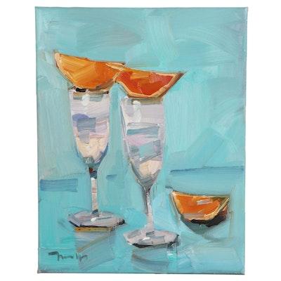 "Jose Trujillo Oil Painting ""Champagne Brunch,"" 2021"