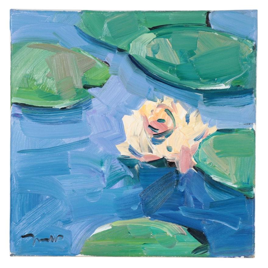 "Jose Trujillo Oil Painting ""Waterlilies,"" 2021"