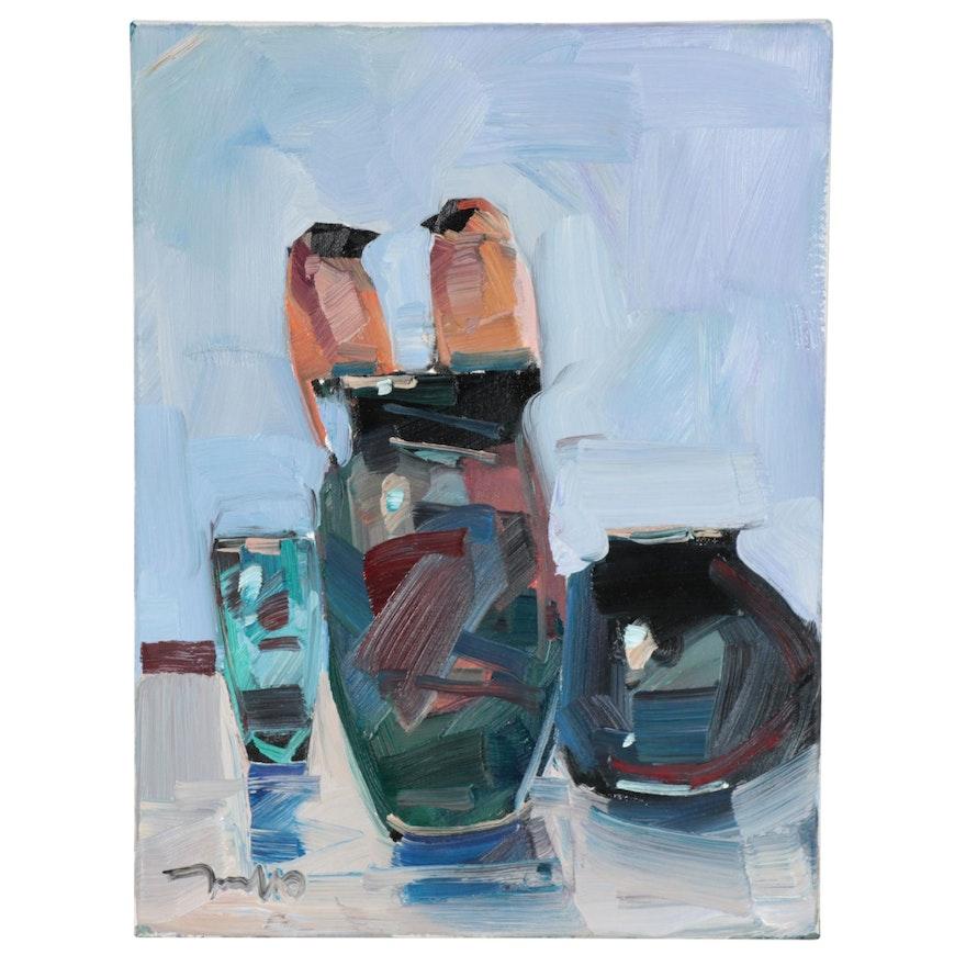 "Jose Trujillo Oil Painting ""Birds & Vases,"" 2021"