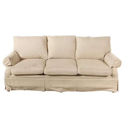 White-Upholstered Sofa, Mid to Late 20th Century