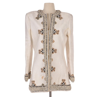 Mary McFadden Couture Embellished Quilted Evening Jacket with Other Satin Wrap