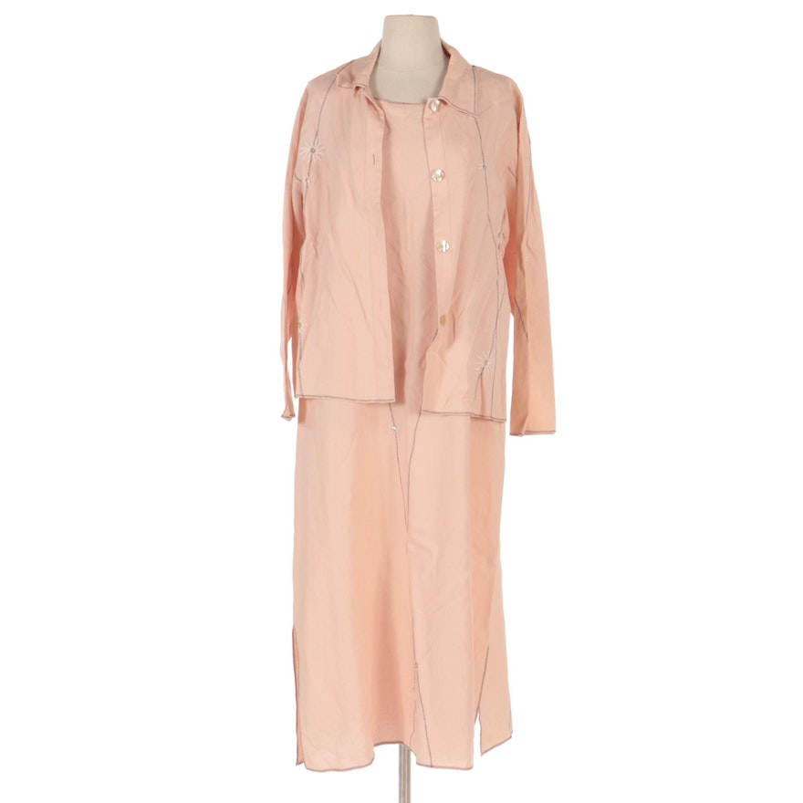 David Dart Collection Linen Dress and Jacket Set with Contrast Zig Zag Stitching