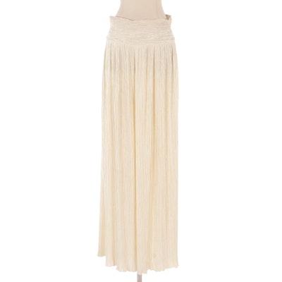 Mary McFadden Charmeuse Plissé Pleated Pants in White
