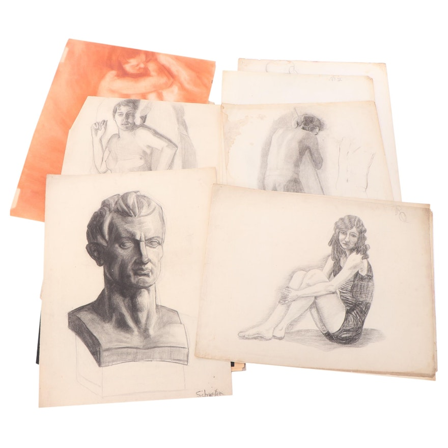 Charcoal and Graphite Portrait and Figure Drawings, Mid to Late 20th Century