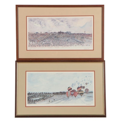 """Jack Howard Offset Lithographs """"Fantasy in the Wind"""" and Ohio Park Scene"""