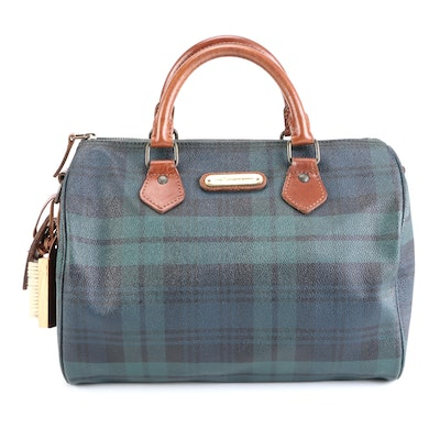 Polo Ralph Lauren Coated Canvas Satchel in Blackwatch Plaid with Leather Trim