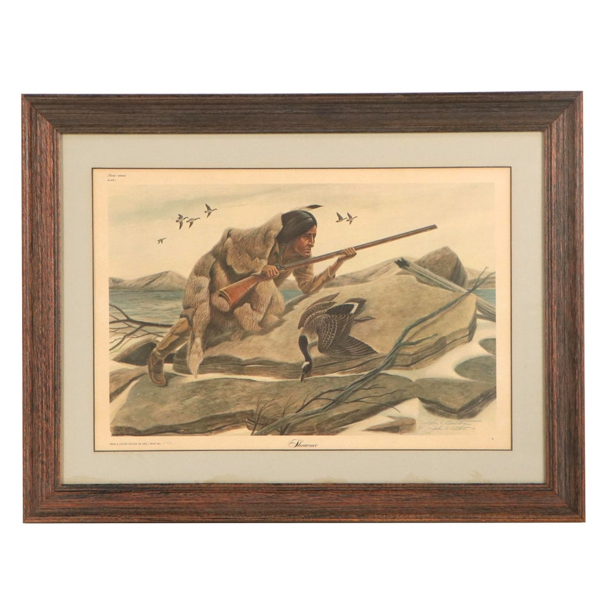 "John A. Ruthven Offset Lithograph ""Shawnee,"" Late 20th Century"