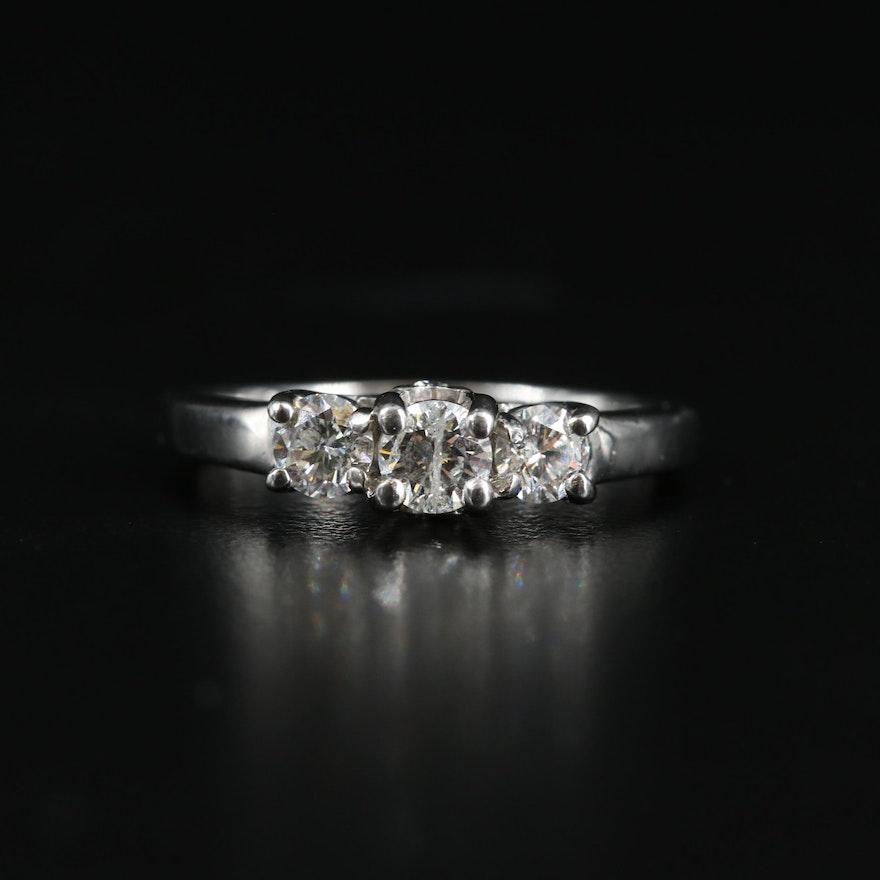 Platinum-Palladium Alloy Diamond Ring with Gallery Diamonds