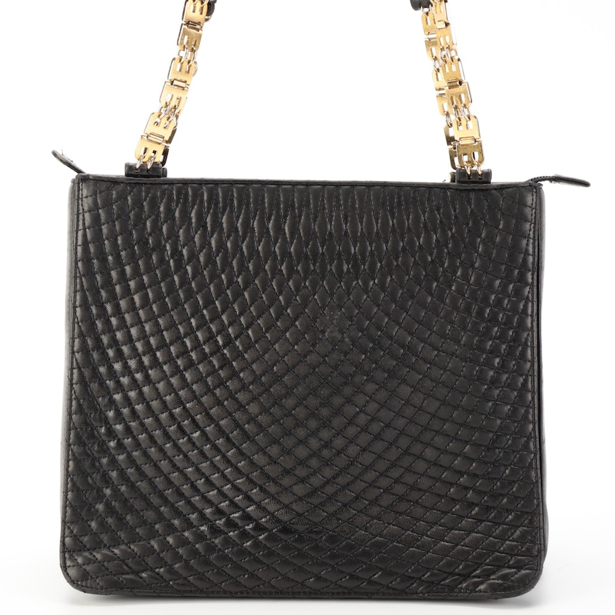 Bally Shoulder Bag in Black Quilted and Smooth Leather