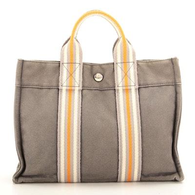 Hermès Fourre Tout PM Tote Bag in Grey Canvas and Multicolor Stripe Web