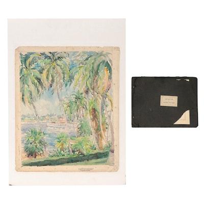 "Elizabeth Gowdy Baker Watercolor Painting ""Palm Beach,"" Circa 1900"