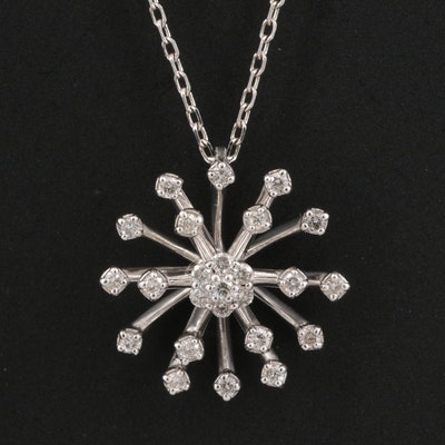 Sterling Silver Diamond Starburst Pendant Necklace