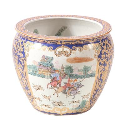 Chinese Export Style Hunting Scene Ceramic Fishbowl Planter, Late 20th Century