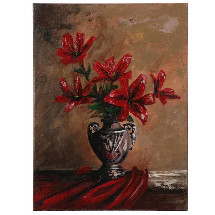 Farshad Lanjani Vase of Flowers Acrylic Painting, 21st Century