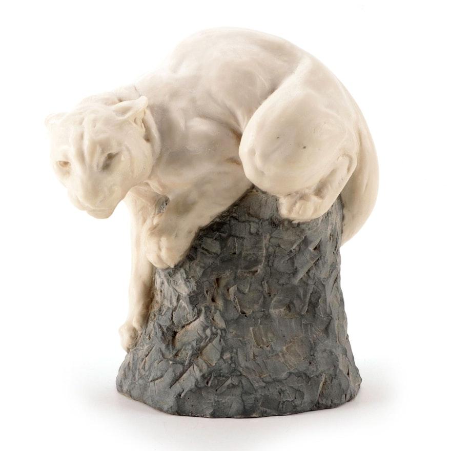 "Joseph Boulton Carved Alabaster Sculpture ""White Cougar"""