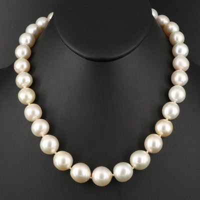 11.00 - 14.50 mm Pearl Princess Length Necklace with 14K Clasp
