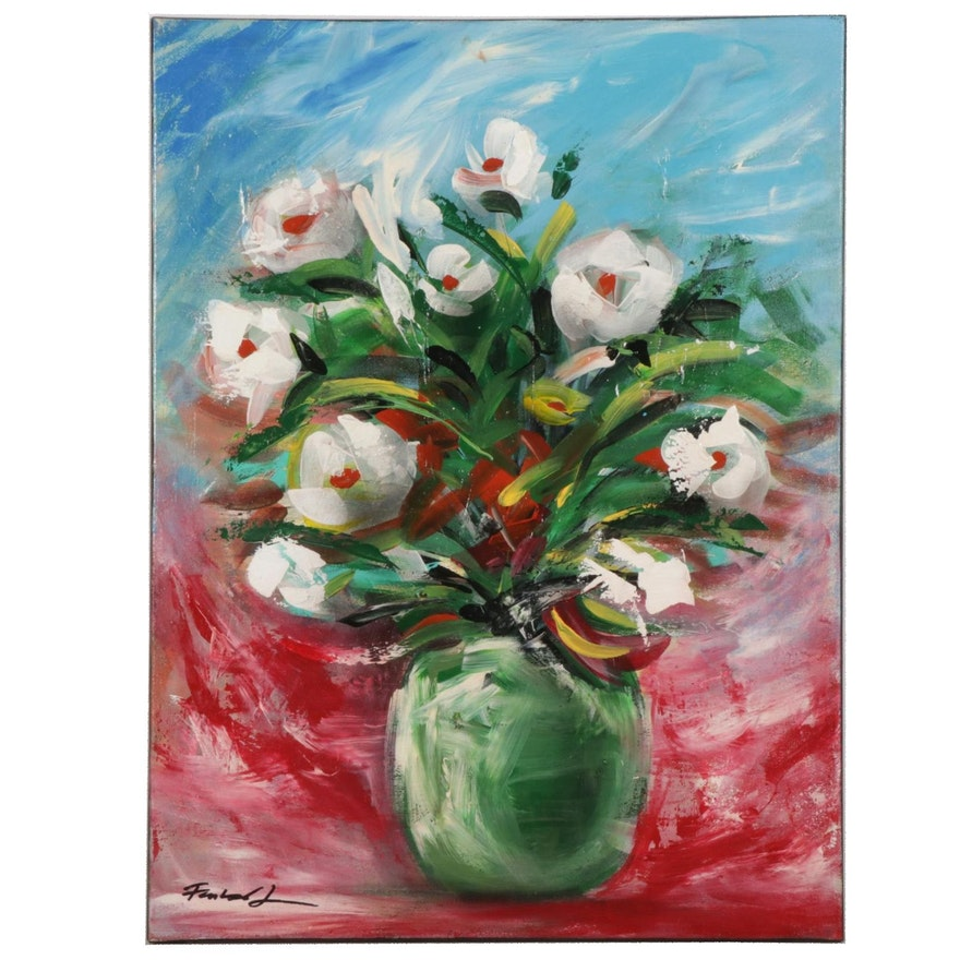Farshad Lanjani Still Life Acrylic Painting of White Flowers, 21st Century