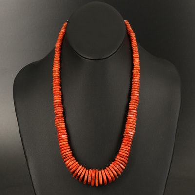Desert Rose Trading Graduated Coral Necklace with Sterling Silver Clasp