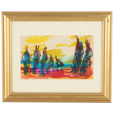 Paul Chidlaw Abstract Landscape Mixed Media Drawing