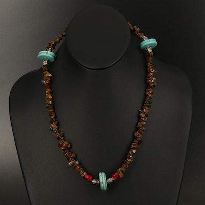 Tiger's Eye Quartz, Magnesite and Glass Beaded Necklace