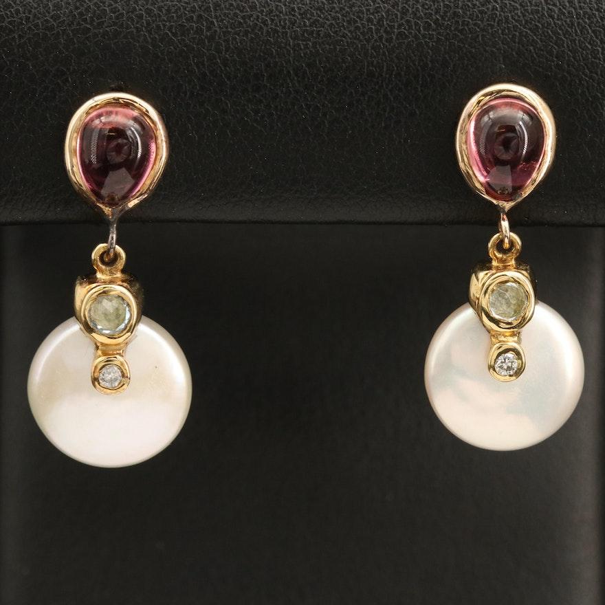 18K and 14K Pearl and Tourmaline Bezel Set Drop Earrings