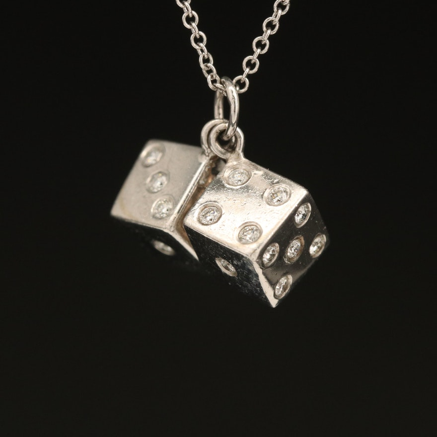 14K Diamond Dice Pendant on Italian 18K Chain