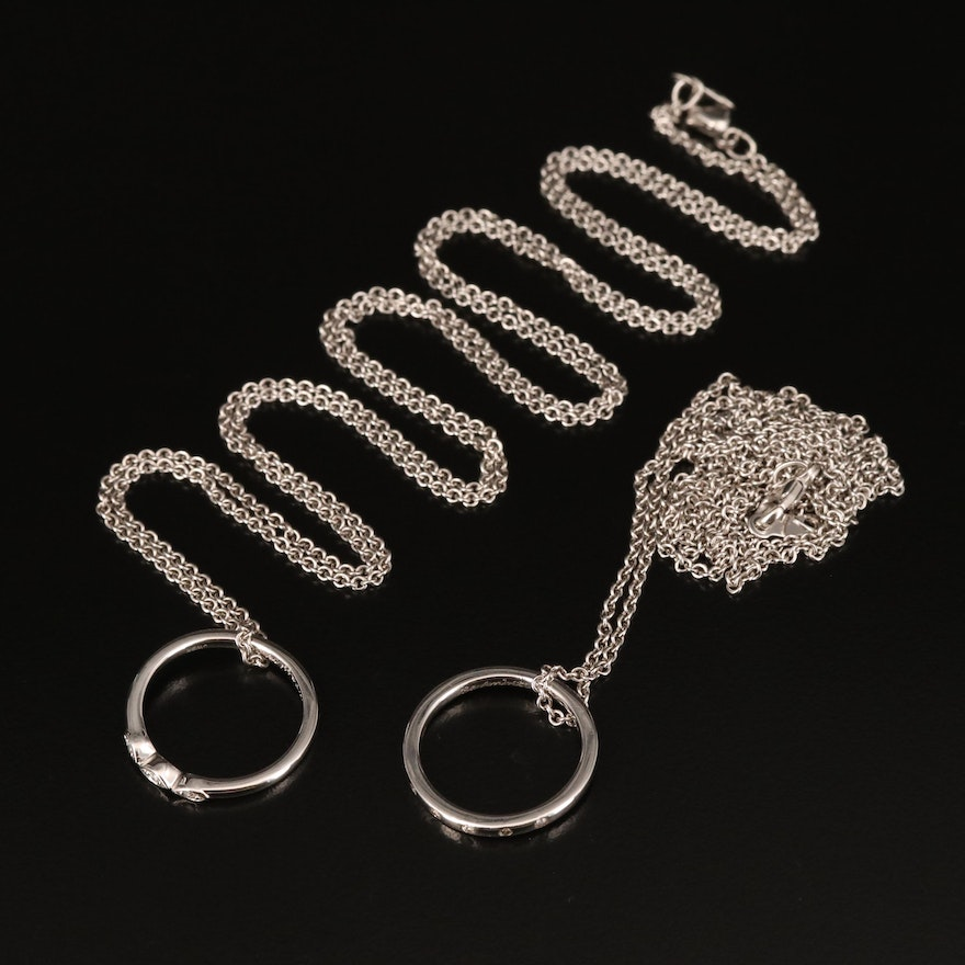 Sterling Diamond Ring Pendant Necklaces