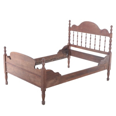 Full Size Wooden Bed with Turned Posts, 19th Century