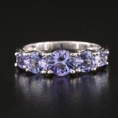 Sterling Tanzanite Five Stone Ring