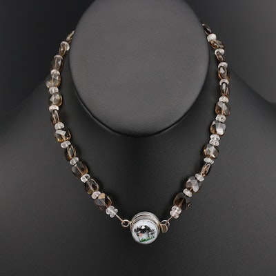 Sterling Grazing Cow Clasp on Smoky Quartz and Goshenite Necklace