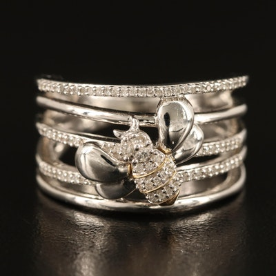 Sterling Diamond Bee Ring with 10K Accents