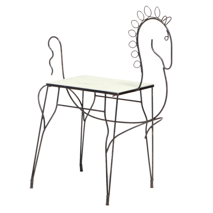 Frederic Weinberg Mid Century Modern Wrought Iron Horse Bar Cart