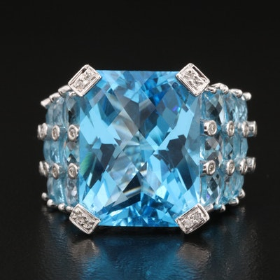 18K Swiss Blue Topaz and Diamond Ring with 24.71 CT Center Stone