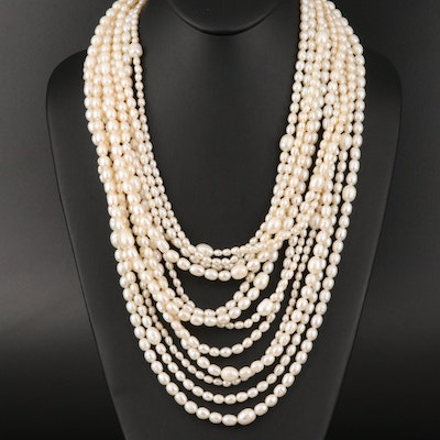 Multi-Strand Pearl Necklace with Sterling Silver Clasp