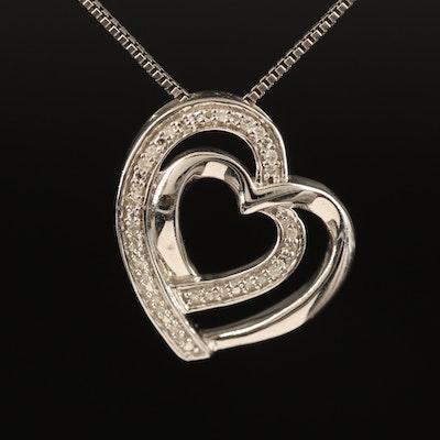 Sterling Diamond Double Heart Pendant Necklace