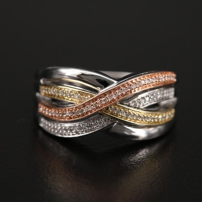Sterling Diamond Crossover Ring with 10K Two-Tone Accent