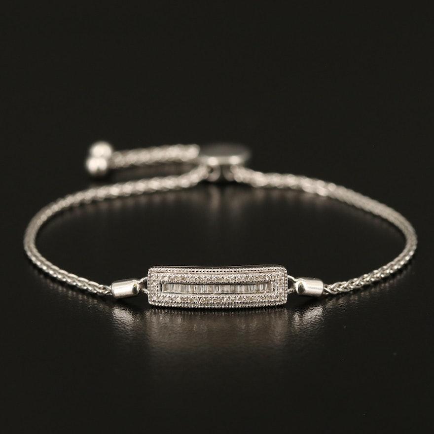 Sterling Diamond Bar Bolo Bracelet