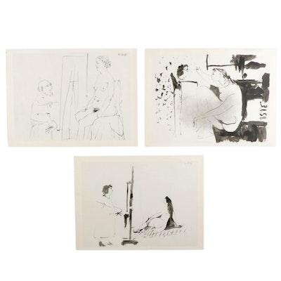 """""""La Comédie Humaine"""" Double-Sided Photogravures After Pablo Picasso, 1954"""
