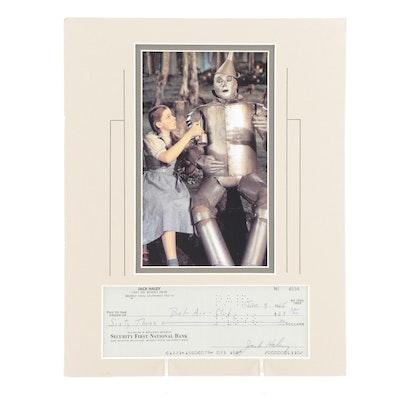 "Jack Haley ""The Tin Man"" Signed Personal Bank Check with Photo Print, JSA COA"