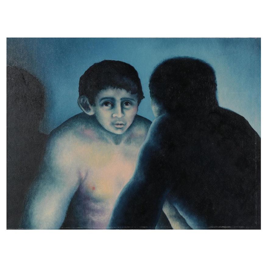 Silvio Betti Figural Oil Painting, Late 20th Century