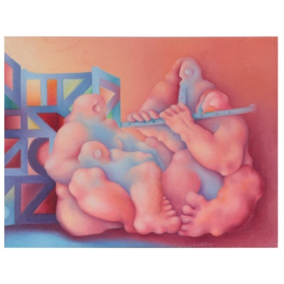 Silvio Betti Surrealist Style Oil Painting, 1976