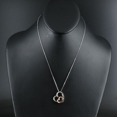 Sterling Diamond Double Heart Pendant Necklace with 10K Rose Gold Accent