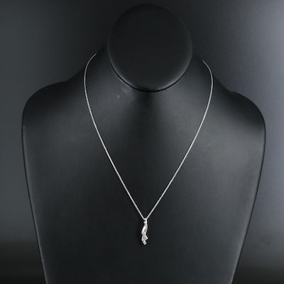 Sterling Diamond Crossover Pendant Necklace