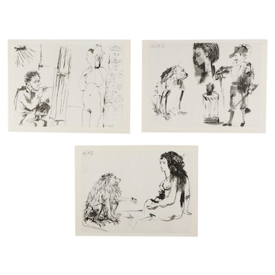 """Double-Sided Photogravures After Pablo Picasso From """"La Comédie Humaine,"""" 1954"""