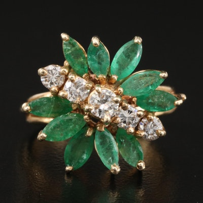 14K Diamond and Emerald Cluster Ring