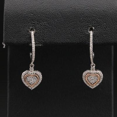 Sterling Diamond Heart Drop Earrings with 10K Accents