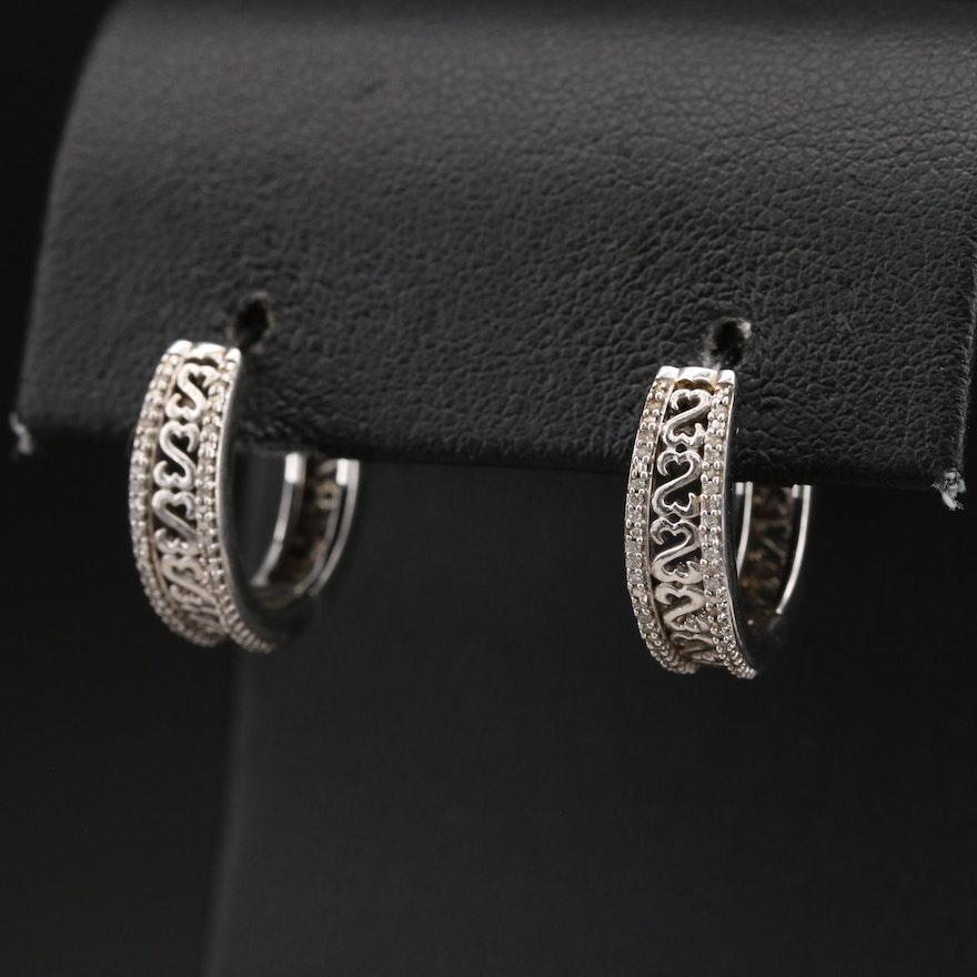 Sterling Diamond Heart Hoop Earrings
