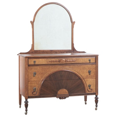 Art Nouveau Walnut Chest of Drawers with Mirror, Early 20th Century