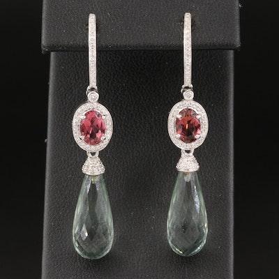 18K Tourmaline, Prasiolite and Diamond Earrings