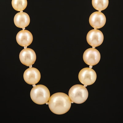 French Mellerio dits Meller Pearl Necklace with Platinum 1.00 CTW Diamond Clasp